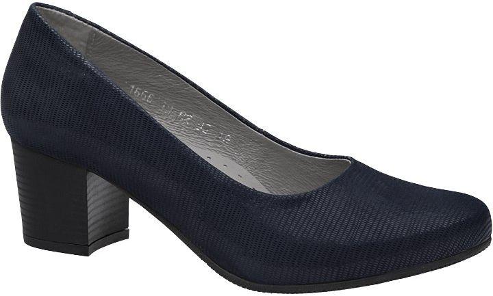 Czółenka na obcasie buty AXEL Comfort 1666 Marine Egzotico Granatowe