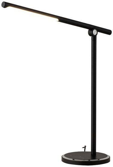 Lampa biurkowa do pracy i domu SMART LED ładowarka czarna