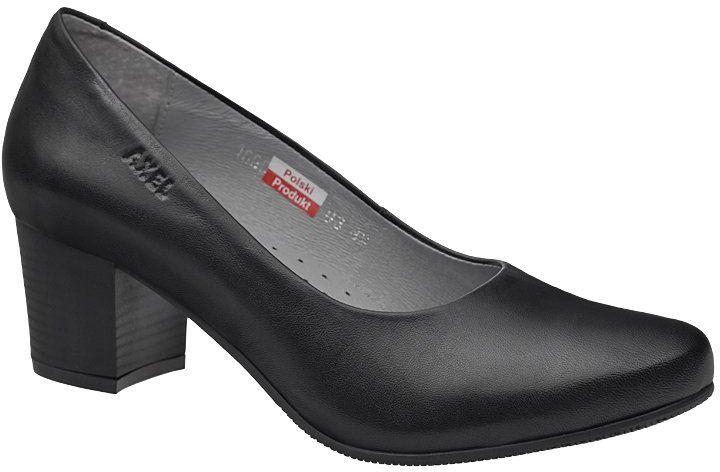 Czółenka na obcasie buty AXEL Comfort 1666 Czarne na Haluksy
