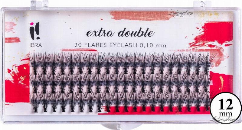 Ibra - EXTRA DOUBLE - 20 FLARE EYELASH KNOT-FREE - Kępki sztucznych rzęs - 12 mm