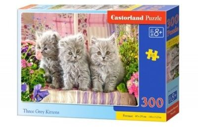 Puzzle Castor 300 - Trzy szare kotki, Three Grey Kittens