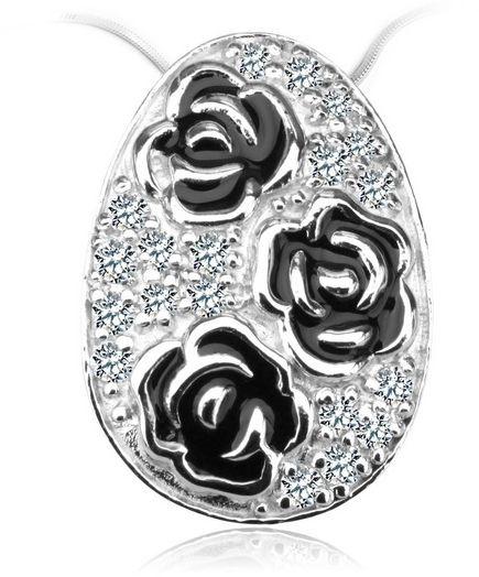 Staviori zawieszka z trzema czarnymi różami i cyrkoniami. srebro rodowane 0,925. wymiary 13,5x19 mm.