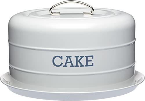 KitchenCraft Living Nostalgia LNCTGRY szczelna puszka do przechowywania ciasta/kopuła ciasta, 28,5 x 18 cm - francuska szara