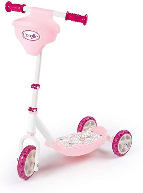Smoby Corolle 750179 hulajnoga dla dzieci z cichymi kółkami i wbudowanym uchwytem dla lalek