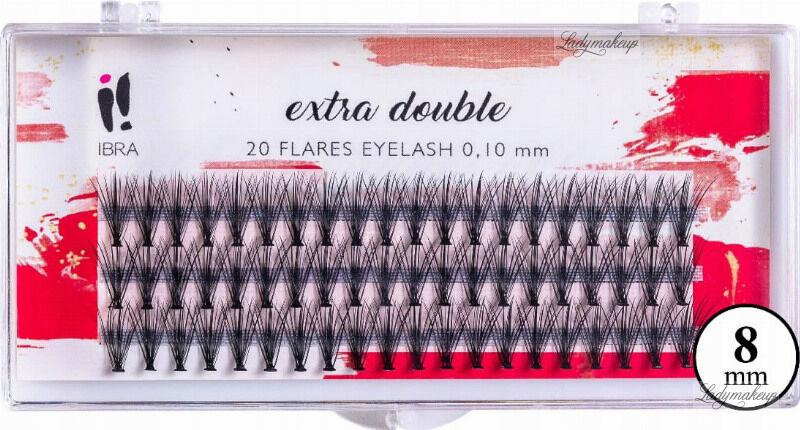 Ibra - EXTRA DOUBLE - 20 FLARE EYELASH KNOT-FREE - Kępki sztucznych rzęs - 8 mm