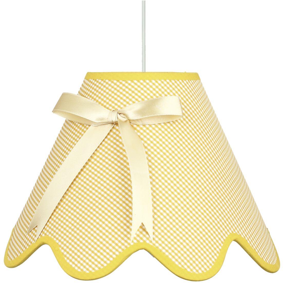 Candellux LOLA 31-04673 lampa wisząca abażur żółty z kokardą 1X60W E27 40 cm