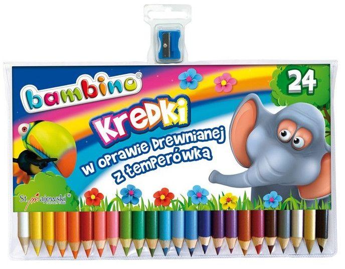 Kredki ołówkowe 24 kolory w drewnianej oprawie BAMBINO 447