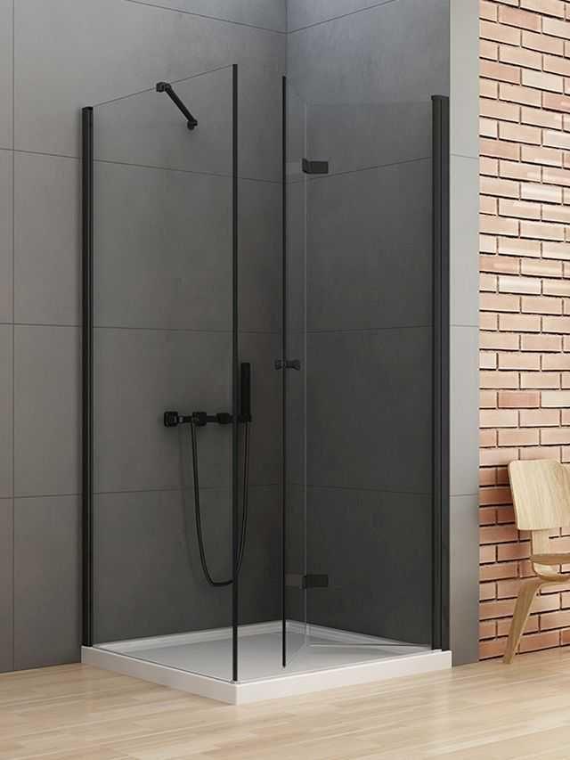 New Trendy New Soleo Black kabina kwadratowa drzwi prawe 70 x 70 cm, wys. 195 cm, szkło czyste 6 mm D-0237A/D-0113B