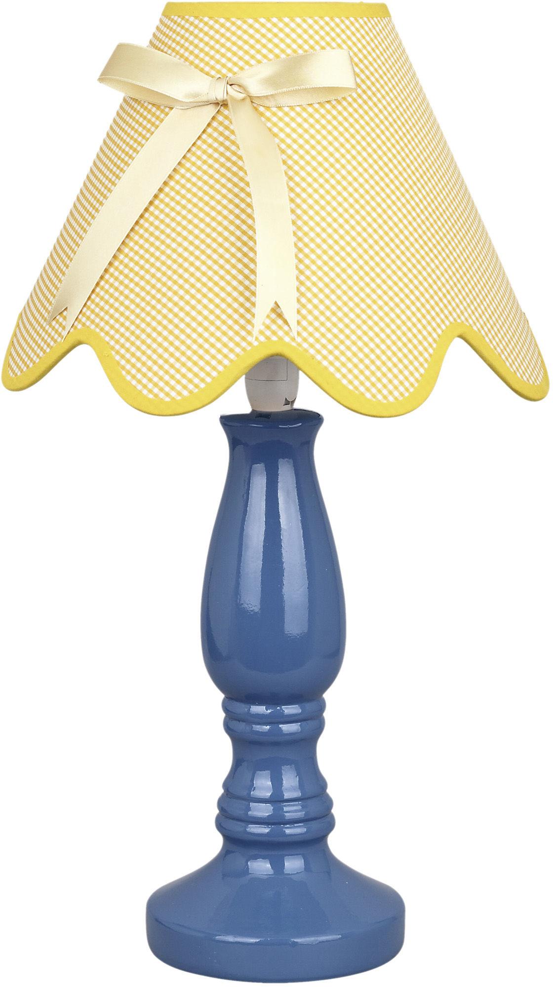 Candellux LOLA 41-63472 lampa stołowa abażur niebiesko-żółta z kokardą 1X40W E14 25cm