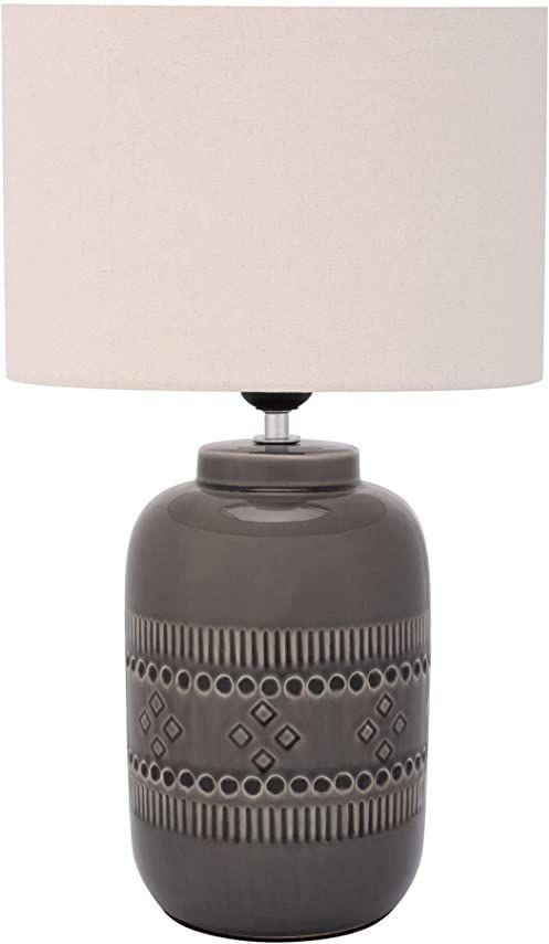 Pauleen 48224 Gleaming Beauty lampa stołowa maks. 20 W ręcznie wykonana beżowa, szara lampka nocna w stylu boho z materiału, ceramika E27