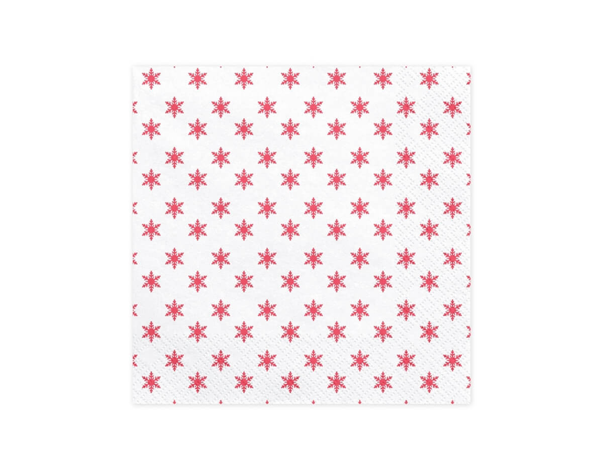 Serwetki Śnieżynki czerwone - 33 cm - 20 szt.