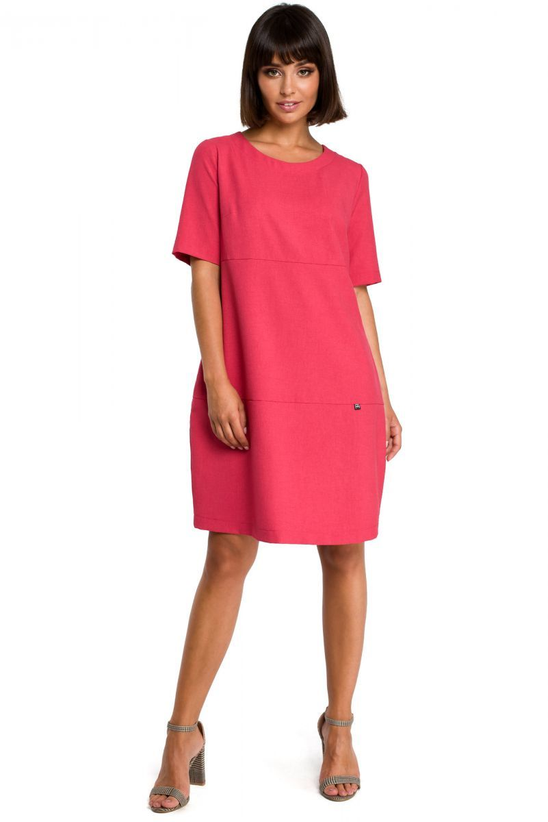 B082 Sukienka bombka różowa