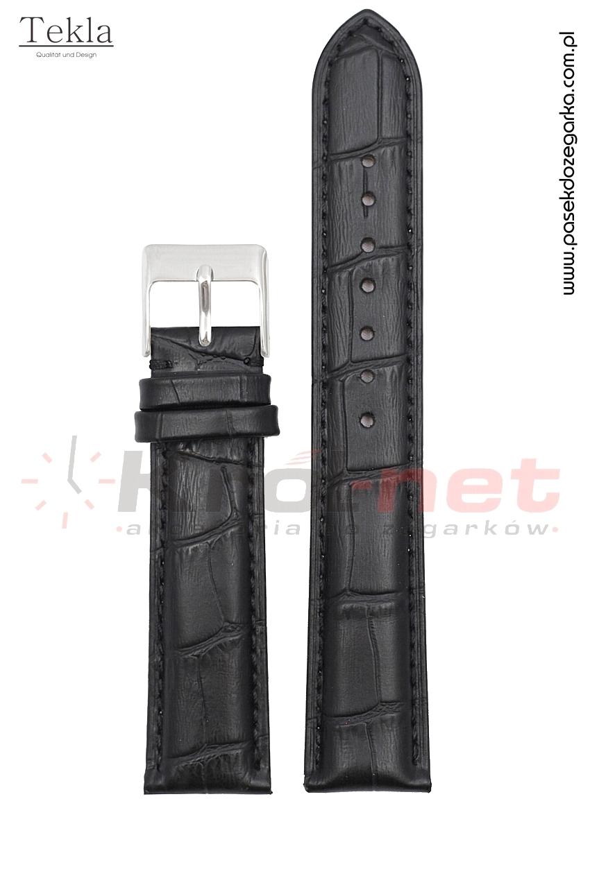 Pasek Tekla TK110/22XL - czarny, faktura krokodyla, long