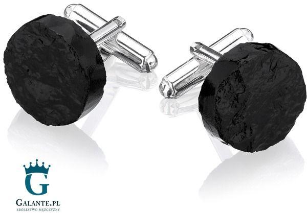 Srebrne spinki do mankietów okrągła bryłka węgla smw-001