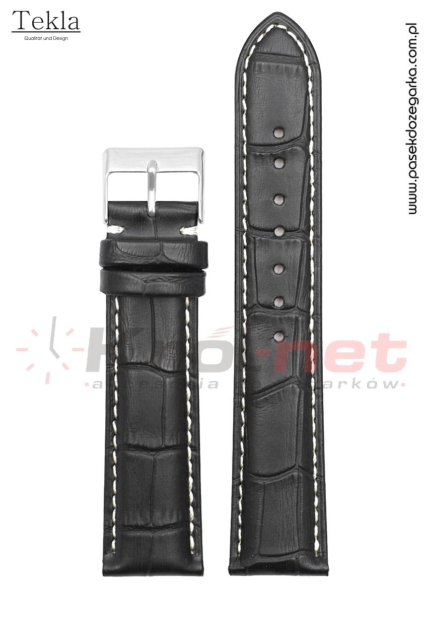 Pasek Tekla TK110/B/22 - czarny, faktura krokodyla