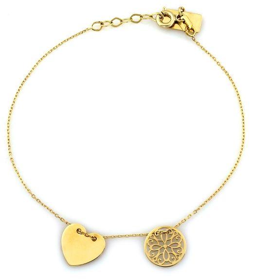 złota bransoletka 333 ażurowa celebrytka serce kółko