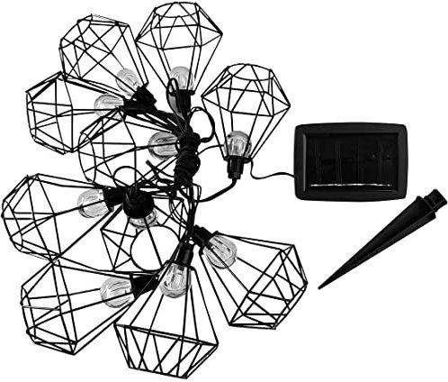 Lumi Jardin Guirlande lumineuse cage en métal lumière blanche solaire MILY SOLAR 10 LED 200 cm, Noir, 200