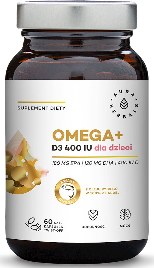 Omega+ Witamina D3 400IU Suplement Diety dla Dzieci Kapsułki Twist-Off 60 sztuk - Aura Herbals