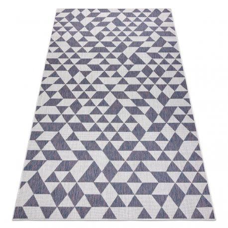 Dywan SZNURKOWY SIZAL SION Geometryczny, Trójkąty 22373 płaskie tkanie ecru / niebieski / róż 80x150 cm