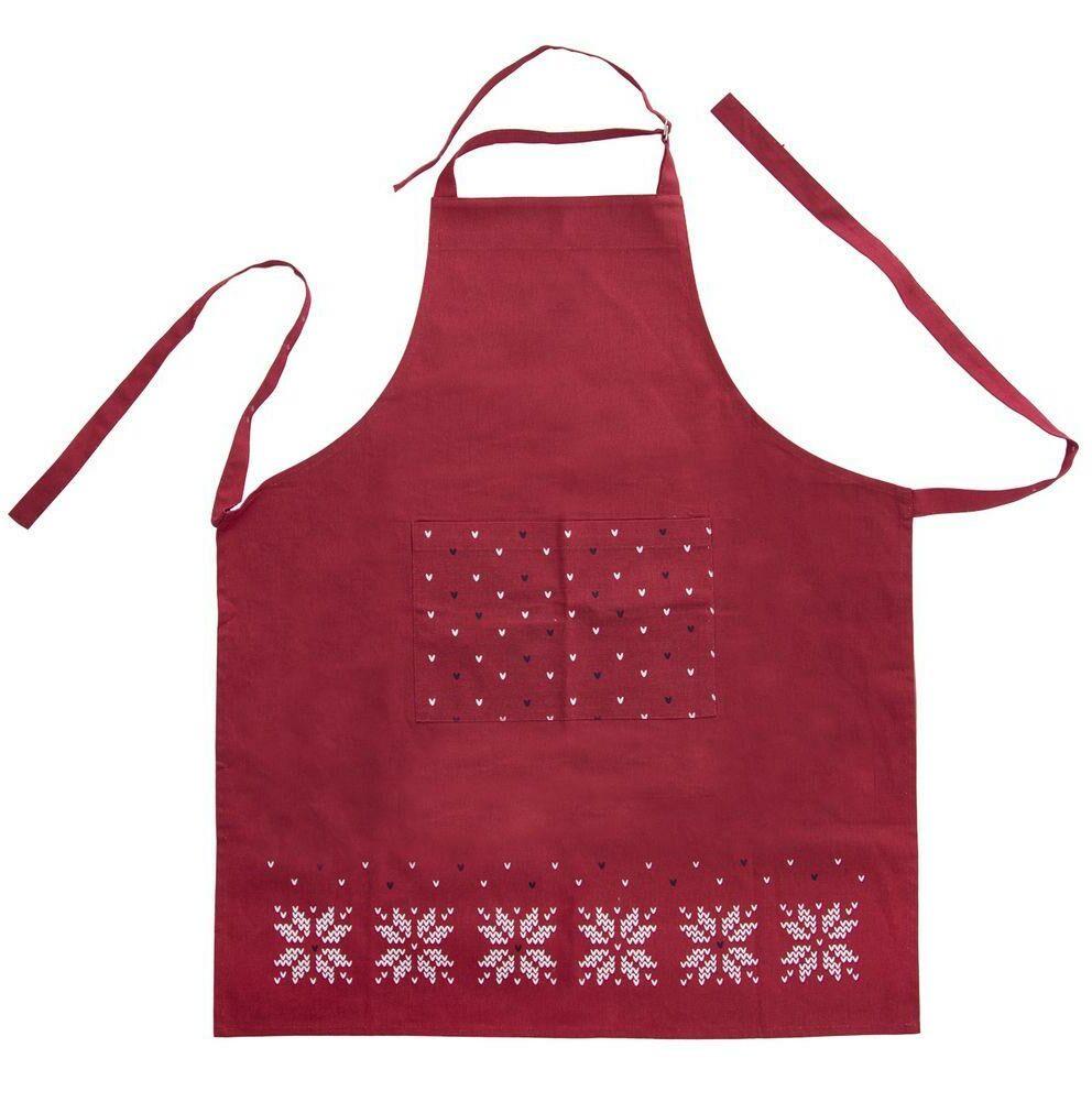 Fartuch fartuszek kuchenny ŚWIĘTA czerwony ochronny bawełniany