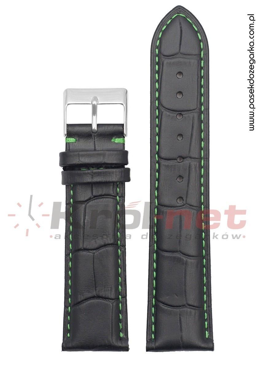 Pasek Tekla TK110/Z/22 - czarny, faktura krokodyla