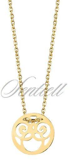 Srebrny naszyjnik celebrytka pr.925 - kółeczko ażurowe, pozłacane