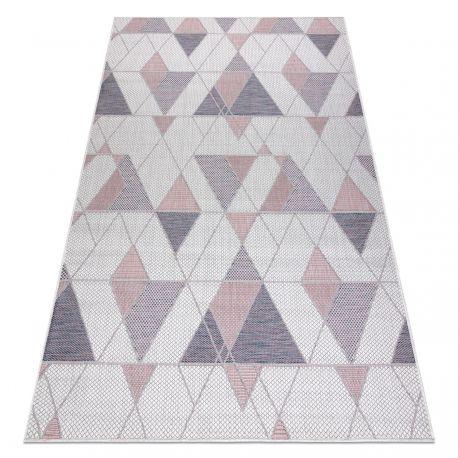 Dywan SZNURKOWY SIZAL SION Geometryczny, Trójkąty 3006 płaskie tkanie ecru / róż 80x150 cm