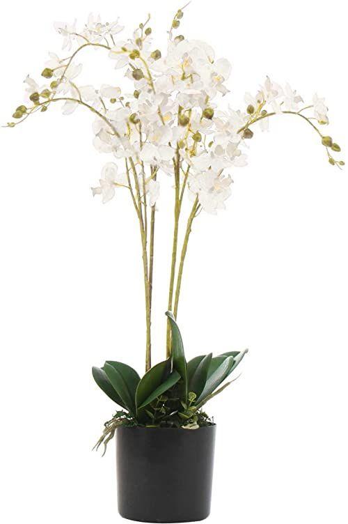 Leaf 60 cm  potrójna łodyga luksusowa realistyczna sztuczna orchidea  biała