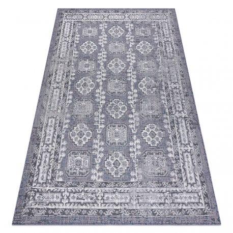 Dywan SZNURKOWY SIZAL SION Ramka, ornament, przecierany 2832 płaskie tkanie niebieski / róż / ecru 80x150 cm