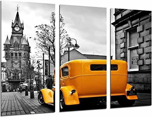 Obraz ścienny - Stadt-London winobranie klasyczny samochód żółty, 97 x 62 cm, druk drewniany - format XXL - druk artystyczny, ref.27024