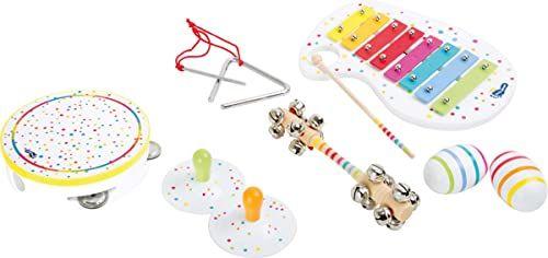 Little foot 10383 zestaw muzyczny z drewna, ksylofon, trójkąt, dzwonki, tamburyn i grzechotki, od 3 lat