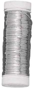Rayher 2402600 srebrny drut z rdzeniem miedzianym, średnica 0,30 mm, szpula z tworzywa sztucznego 50 m, nie zawiera niklu, srebrny drut do majsterkowania, drut wiążący, drut jubilerski