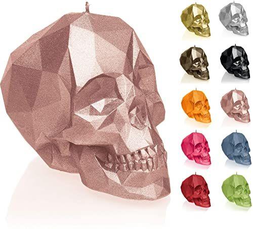 Candellana Świeca mała czaszka Low Poly Wysokość: 7,5 cm Goldrosa trupia czaszka Wykonane ręcznie w UE
