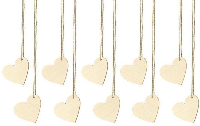 Drewniane zawieszki serca 10 sztuk WS1-100