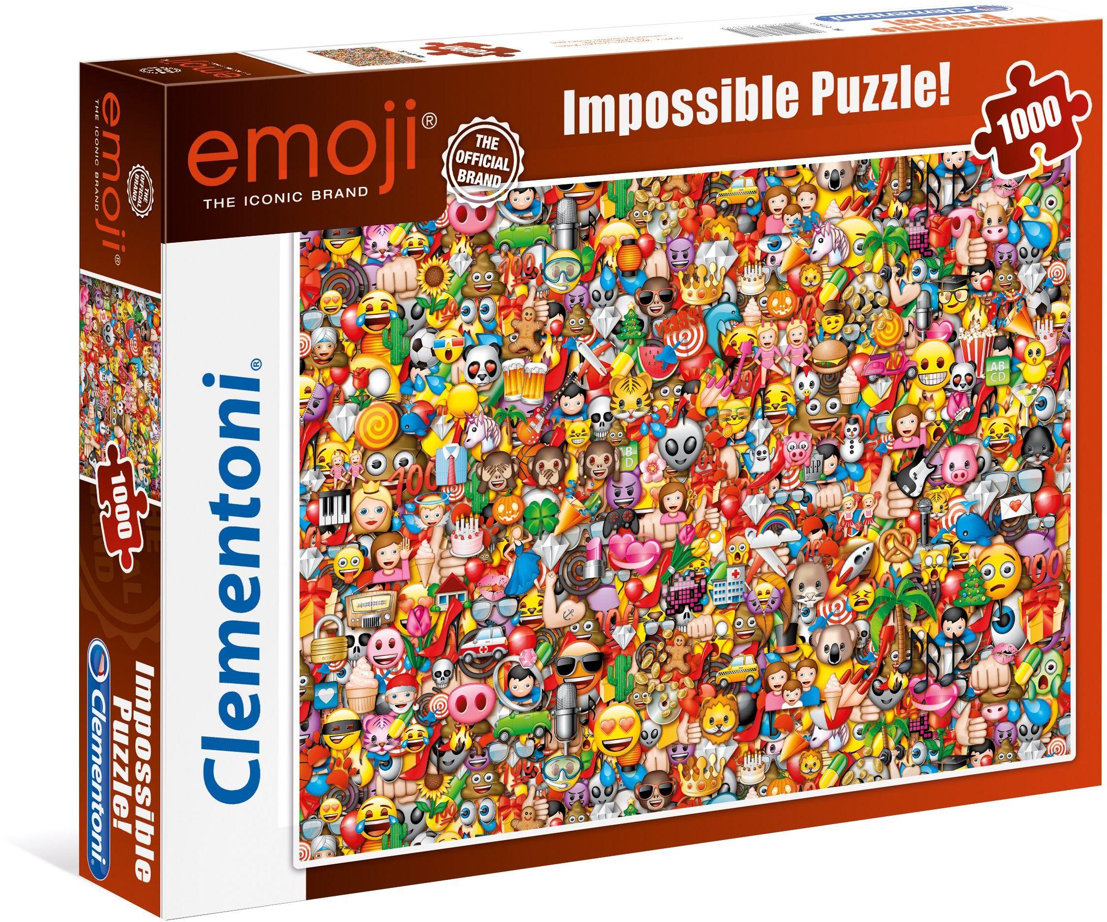 Clementoni 39388 EMOJI  1000 części, Impossible puzzle, gra zręcznościowa dla całej rodziny, kolorowa gra legesowa, puzzle dla dorosłych od 14 lat