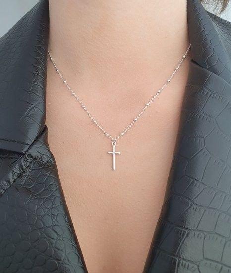1164 łańcuszek z srebrny 925 z krzyżykiem różaniec