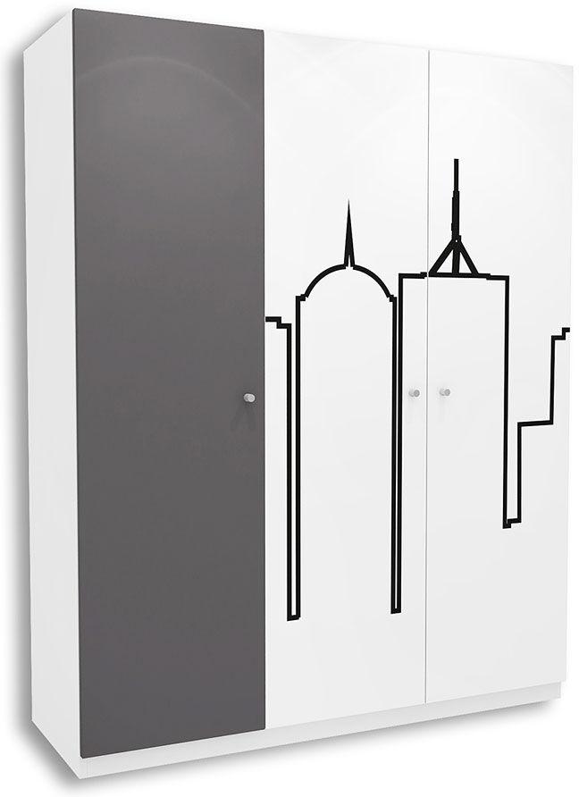 Biało-grafitowa szafa młodzieżowa Timi 16X - 5 kolorów