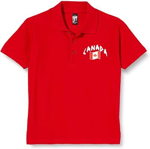 Supportershop Dziecięca koszulka polo Rugby Kanada S czerwona
