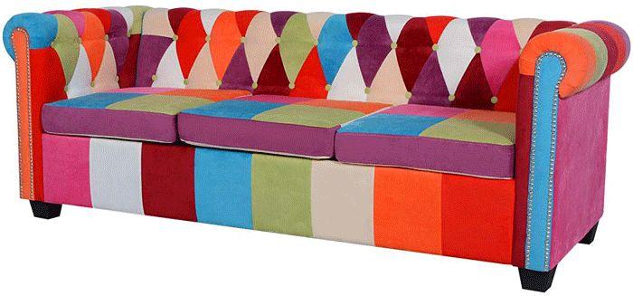 Sofa patchwork chesterfield Triss - trzyosobowa