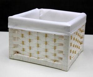 """Wiklinowy koszyk dekoracyjny kwadrat biały 2214 JD9510 rozmiar """"S"""""""