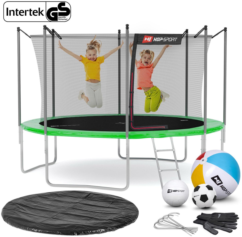 Trampolina Hop-Sport 12ft (366cm) zielona z siatką wewnętrzną
