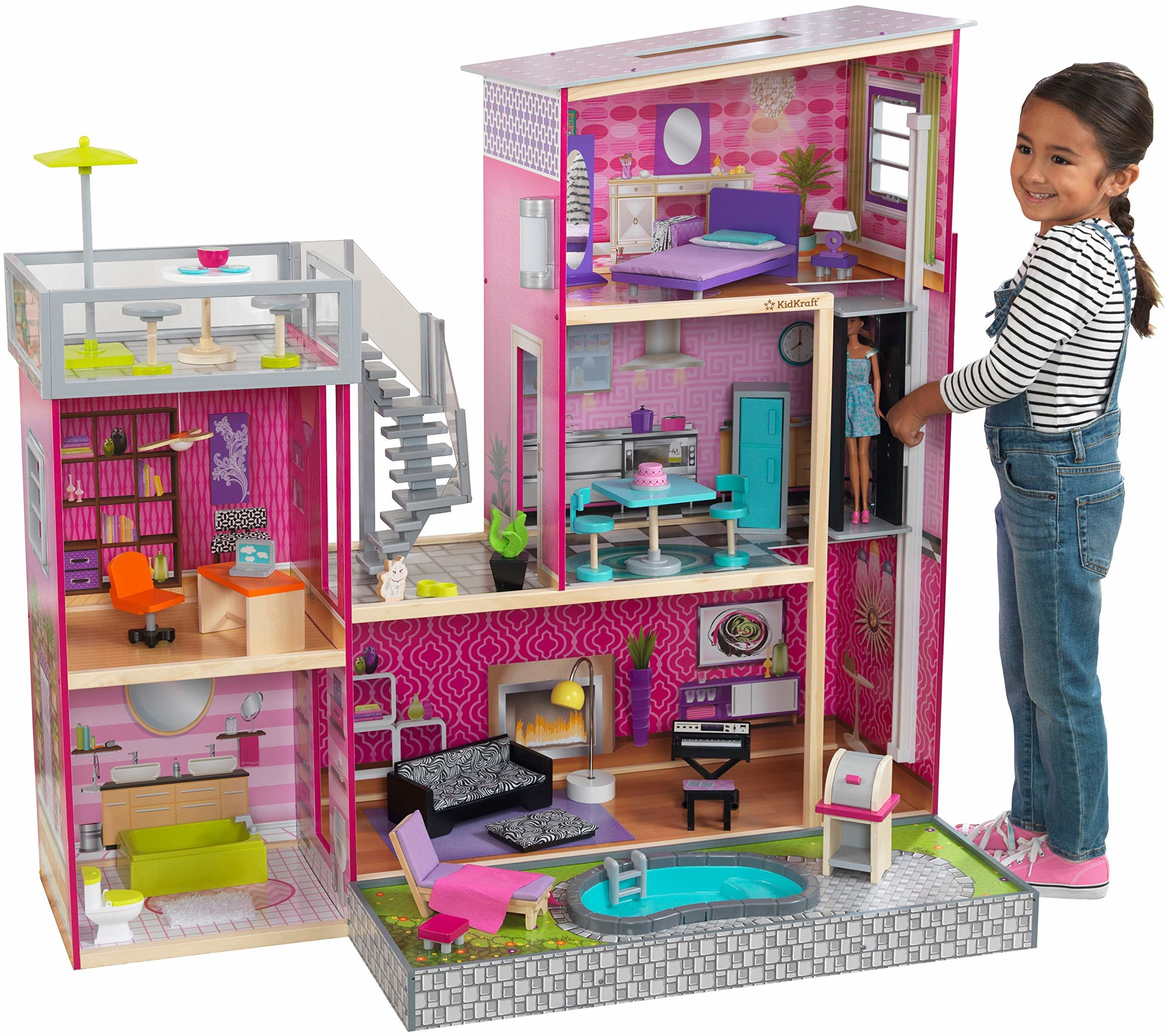 KidKraft 65833 Uptown domek dla lalek z drewna, różowy