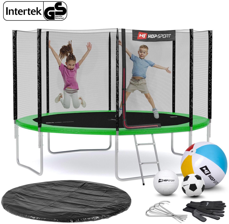 Trampolina Hop-Sport 12ft (366cm) zielona z siatką zewnętrzną