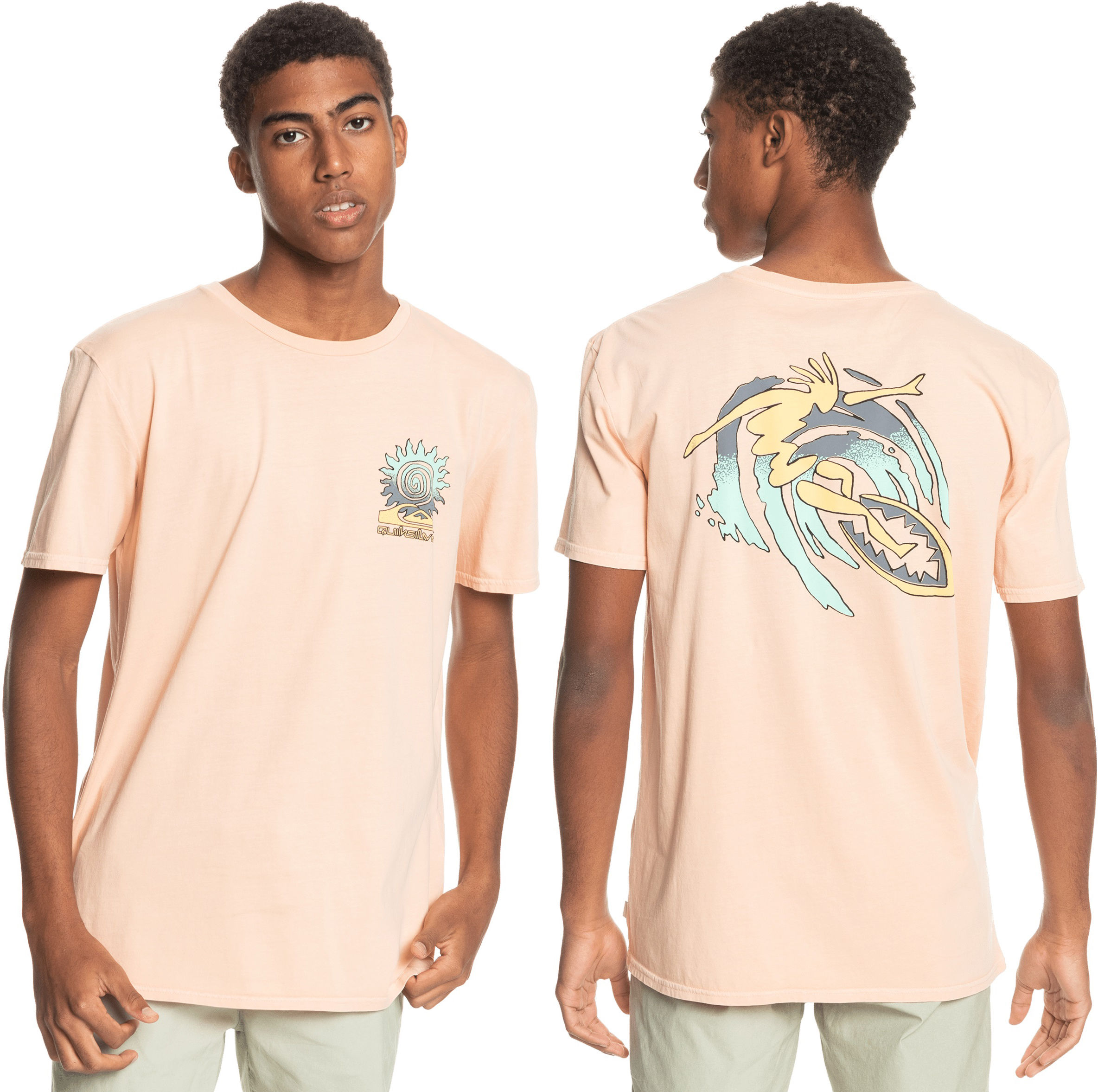 t-shirt męski QUIKSILVER ISLAND PULSE TEE Apricot - NEZ0