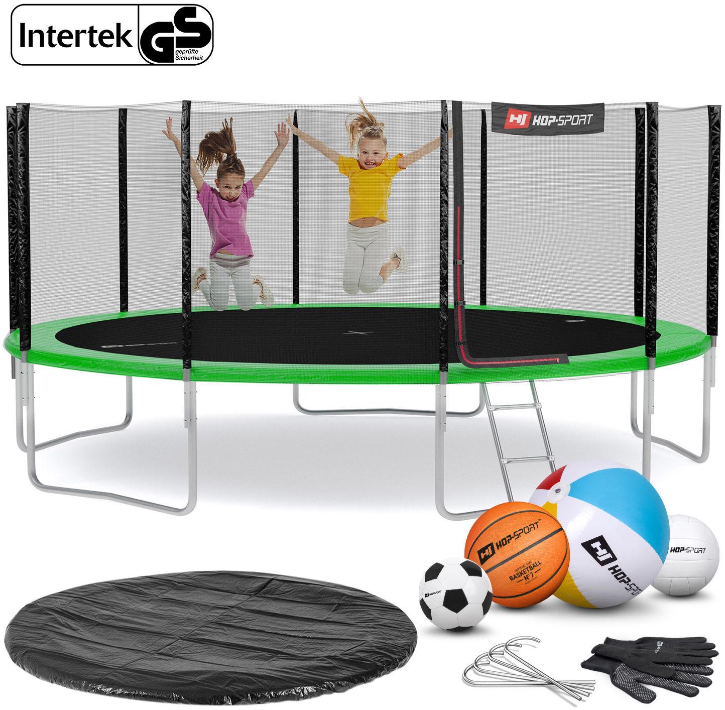 Trampolina Hop-Sport 16ft (488cm) zielona z siatką zewnętrzną