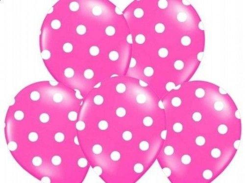 Balon 14 W groszki ciemnoróżowy w białe kropki