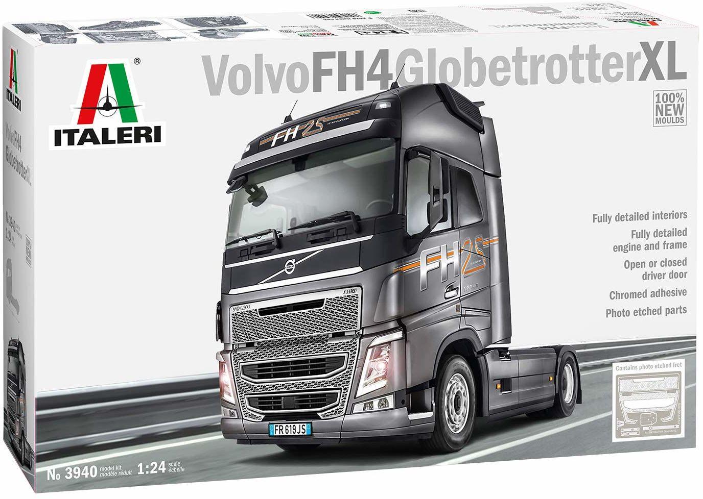 ITALERI 3940S  1:24 Volvo FH4 Globetrotter XL, modelarstwo, zestaw do budowania, budowy modeli stojących, majsterkowanie, klejenie, zestaw plastikowy, wierny szczegółom