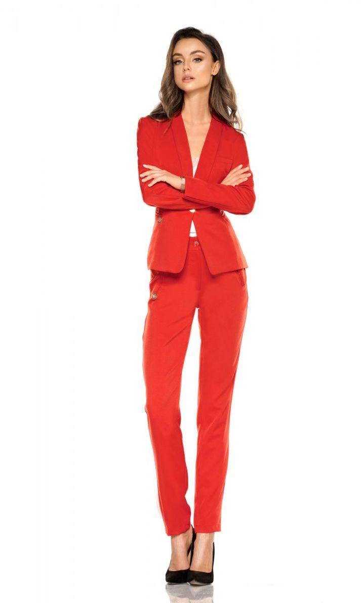 Damskie spodnie garniturowe L279B czerwony