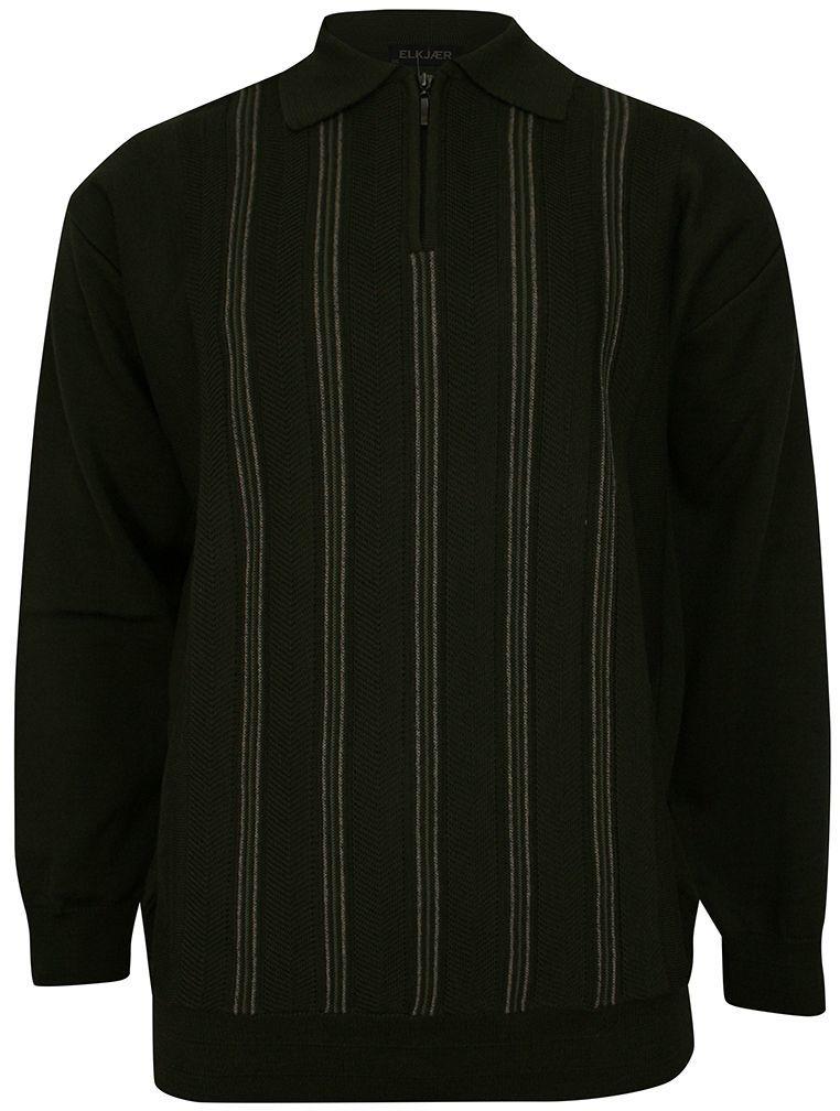 Sweter Ciemny Zielony, z Kołnierzykiem, Góra Zapinana na Zamek, w Paski -ELKJAER- Męski SWKNGS6041zielonyciem