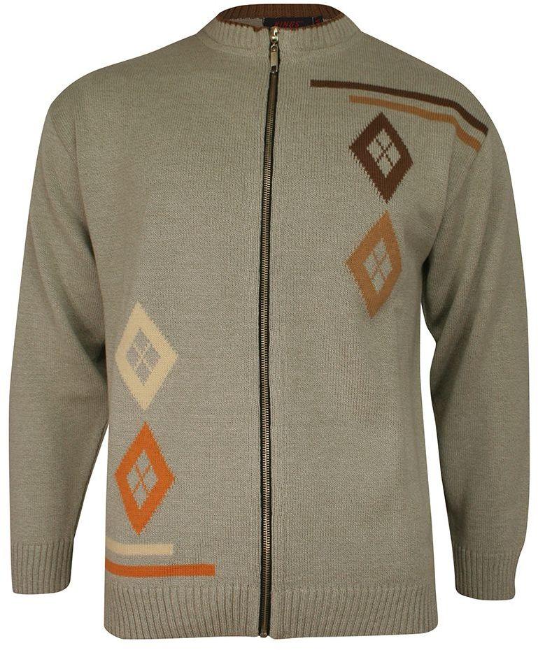 Sweter Beżowy, Zapinany na Zamek, Wzór Geometryczny, ze Ściągaczami -KINGS- Męski SWKNGS6480727bezowy